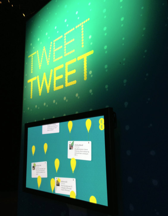 The Smesh EE Twitter wall in situ